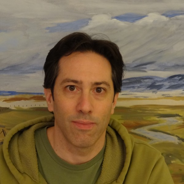 "Brett in front of his 2013 painting, ""Glorious Montana"""